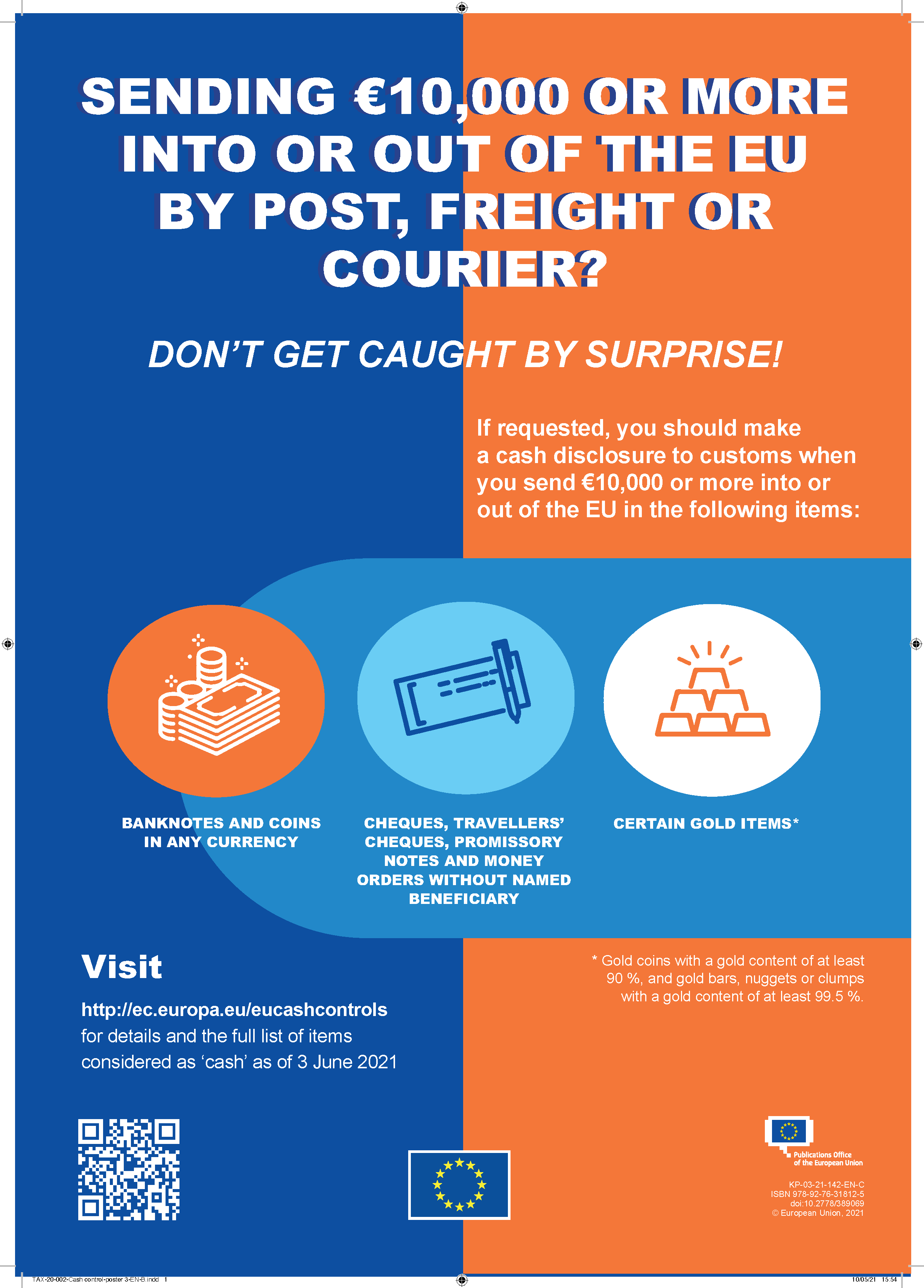 Sending €10,000 or more into or out of the EU by post, freight or courier?